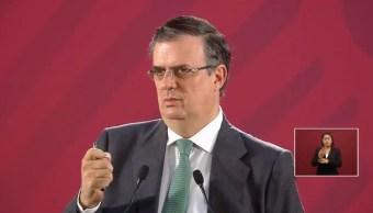 Foto: El secretario de Relaciones Exteriores, Marcelo Ebrard, durante la conferencia de prensa matutina, 21 junio 2019