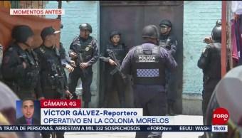 Foto: Movilización policiaca en la colonia Morelos, CDMX