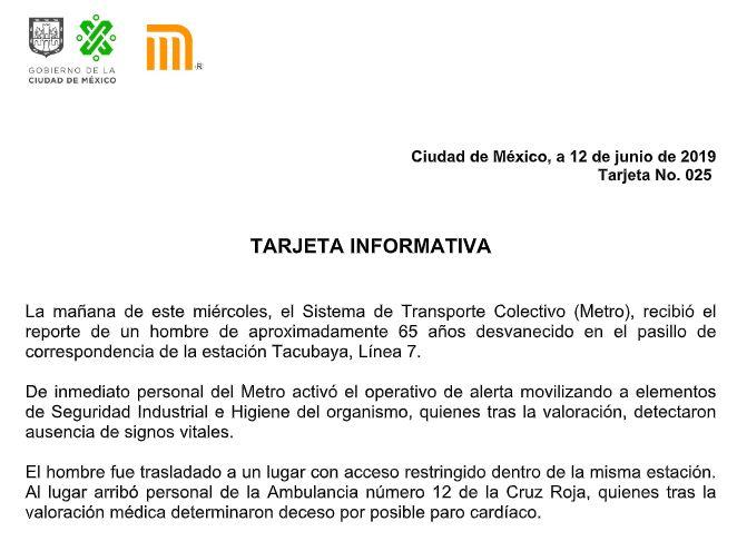FOTO muere hombre metro tacubaya 12 JUNIO 2019