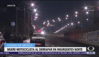Muere motociclista al derrapar en Insurgentes Norte