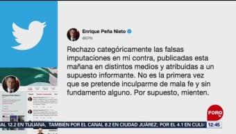 Peña Nieto rechaza imputaciones sobre Fertinal