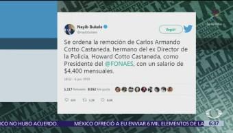 Presidente salvadoreño realiza despidos masivos por Twitter