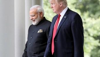 Foto: El primer ministro indio, Narendra Modi, con el presidente de Estados Unidos, Donald Trump, durante una visita a Washington en 2017, junio 16 de 2019 (Getty Images)