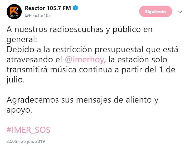 Foto Reactor 105.7 transmitirá solo música sin locutores 26 junio 2019