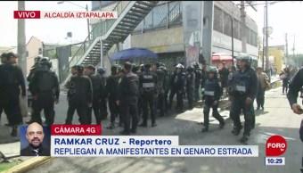 Repliegan a comerciantes en Genaro Estrada, alcaldía Iztapalapa de CDMX