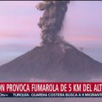 FOTO: Reporta caída de ceniza del volcán Popocatépetl en Ozumba, Edomex