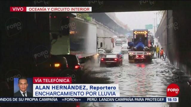 Foto: Reportan encharcamiento en Oceanía y Circuito Interior en CDMX