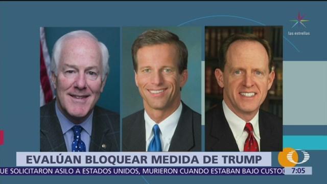 Republicanos evalúan bloquear aranceles de Trump