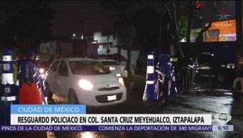 Resguardo policiaco en colonia Santa Cruz Meyehualco, Iztapalapa