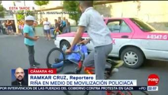 FOTO: Revelan video sobre riña en medio de movilización policiaca en CDMX, 16 Junio 2019