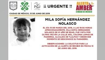 Foto Se activa Alerta Amber para localizar a Mila Sofía Hernández Nolasco 14 junio 2019