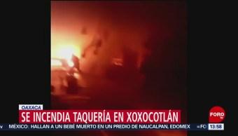 FOTO: Se incendia taquería en Xoxocotlán, Oaxaca