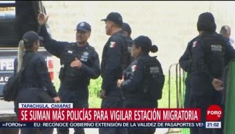 Foto: Policías Vigilar Estación Migratoria Chiapas 9 Junio 2019