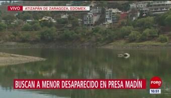 Sigue búsqueda de menor desaparecido en presa Madín, Edomex