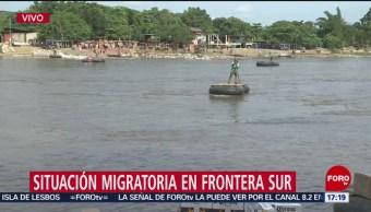 FOTO: Sigue flujo de migrantes a México por el Suchiate
