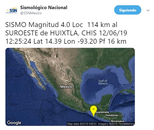 IMAGEN Se registra sismo de magnitud 4 en Huixtla, Chiapas (SSN 12 junio 2019)