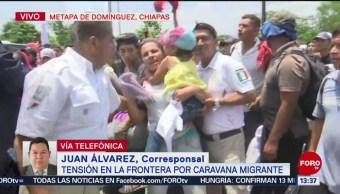 FOTO: Tensión en la frontera México-Guatemala por nueva caravana migrante