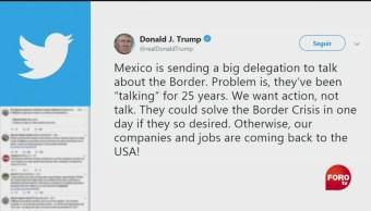 FOTO: Trump escribe tuit contra México a través de Twitter, 2 Junio 2019