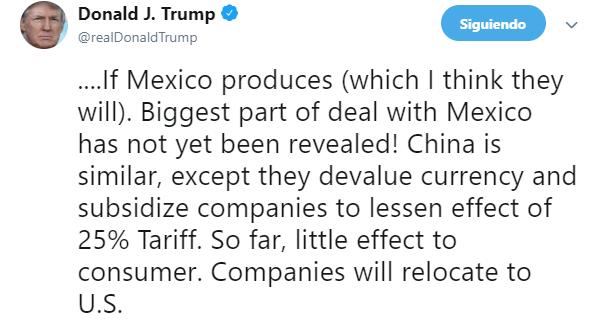 IMAGEN Trump insiste que el mayor acuerdo con México no ha sido revelado (Twitter 11 junio 2019 washington)