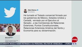 Foto: Turnan a comisiones del Senado documentos del T-MEC