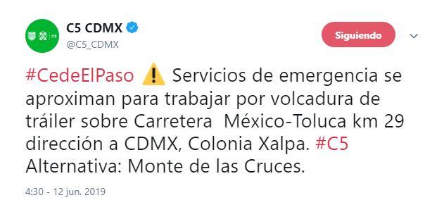 Tweet C5 Volcadura de tráiler