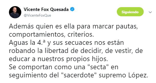 FOTO Uniforme neutro no garantiza igualdad, dice Unión de Padres de Familia (Twitter @VicenteFoxQue 3 junio 2019 cdmx)