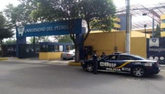 Foto: Una patrulla de la Policía capitalina hace guardia afuera de la Universidad del Pedregal, 14 junio 2019
