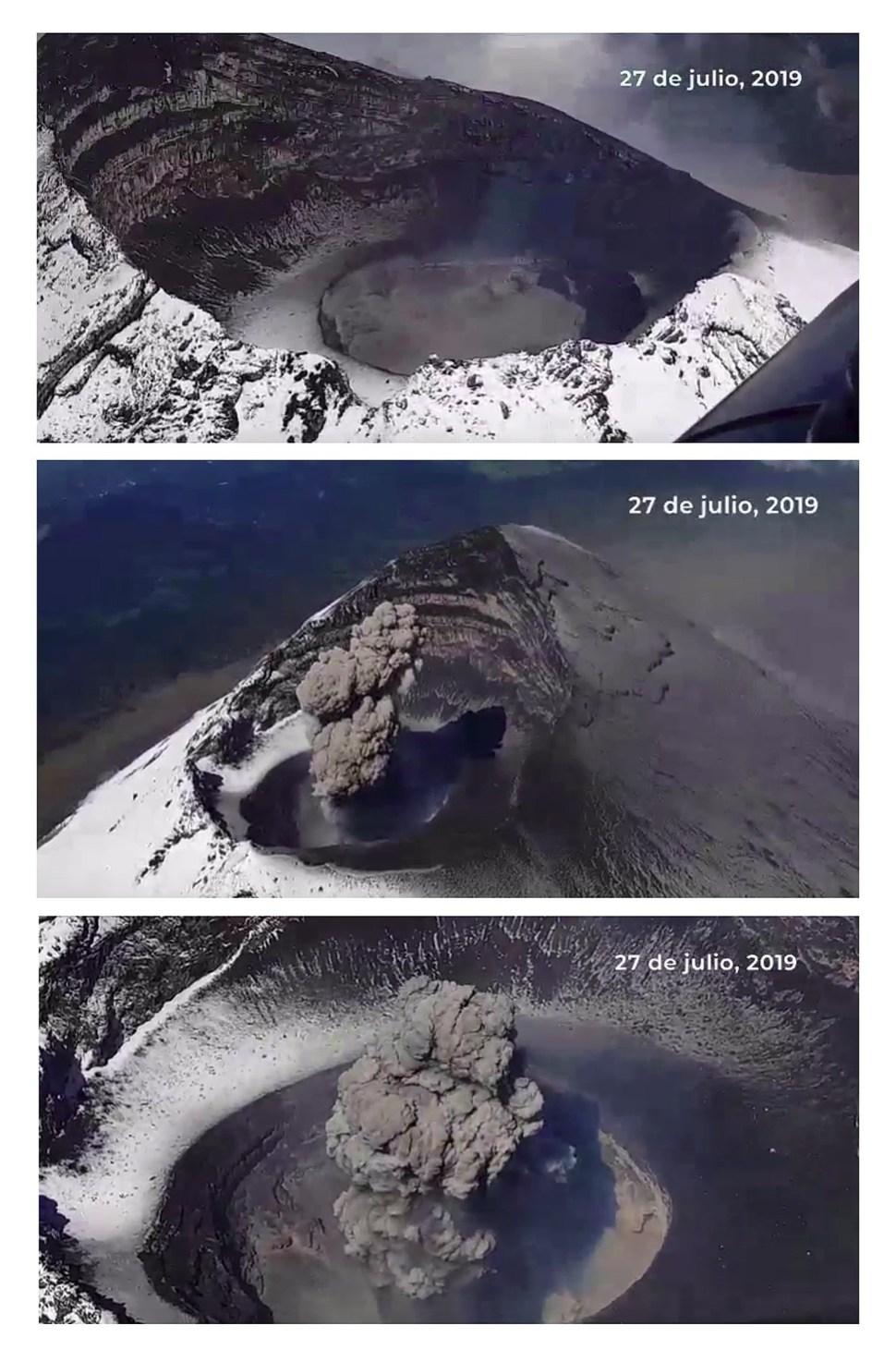 Foto: Las autoridades constataron que el cráter permanece en el mismo estado, 28 de julio de 2019 (EFE)