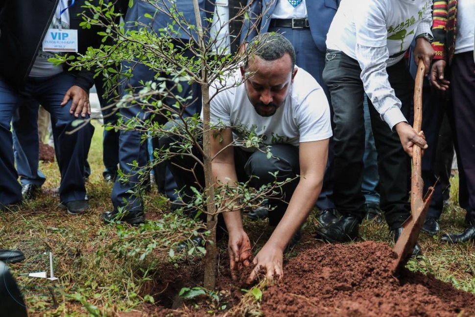Foto: Abiy Ahmed primer ministro de etiopía en la Green Lecagy Iniciativ. 31 julio 2019