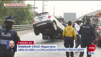 Abren a la circulación un carril del Periférico tras accidente