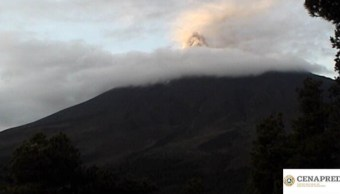 Foto: Volcán Popocatépetl registró 49 exhalaciones,13 de julio de 2019, (Twitter @PC_Estatal )