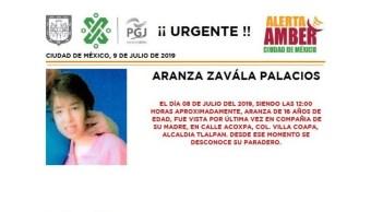 Foto Alerta Amber para localizar a Aranza Zavála Palacios 10 julio 2019