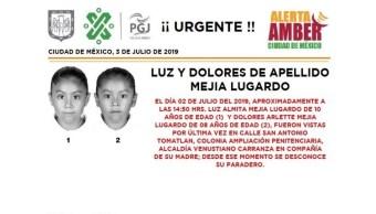 Foto Alerta Amber para localizar a Luz Almita y Dolores Arlette Mejía Lugardo 3 julio 2019