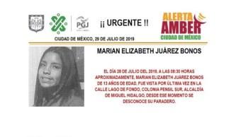 Foto Alerta Amber para localizar a Marian Elizabeth Juárez Bonos 29 julio 2019