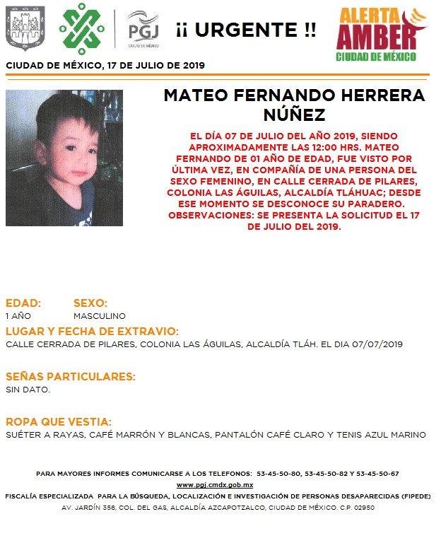Foto Alerta Amber para localizar a Mateo Fernando Herrera Núñez 18 julio 2019