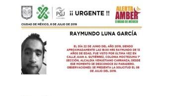 Foto Alerta Amber para localizar a Raymundo Luna García 9 julio 2019