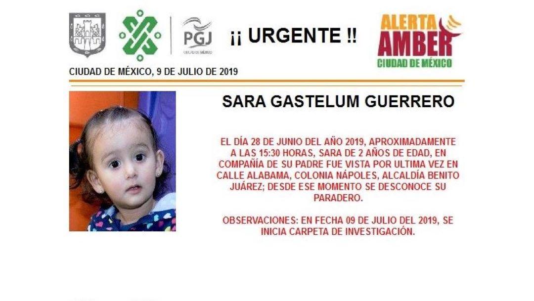 Foto Alerta Amber para localizar a Sara Gastelum Guerrero 9 julio 2019