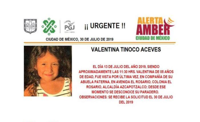 Foto Alerta Amber para localizar a Valentina Tinoco Aceves 30 julio 2019