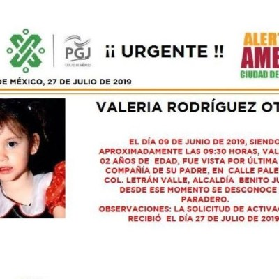 Alerta Amber: Ayuda a localizar a Valeria Rodríguez Otero