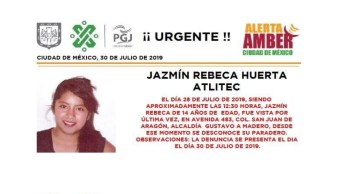 Foto Alerta Amber para localizar Jazmín Rebeca Huerta Atlitec