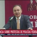 FOTO. Alfonso Durazo reitera que no se violentarán derechos de policías federales