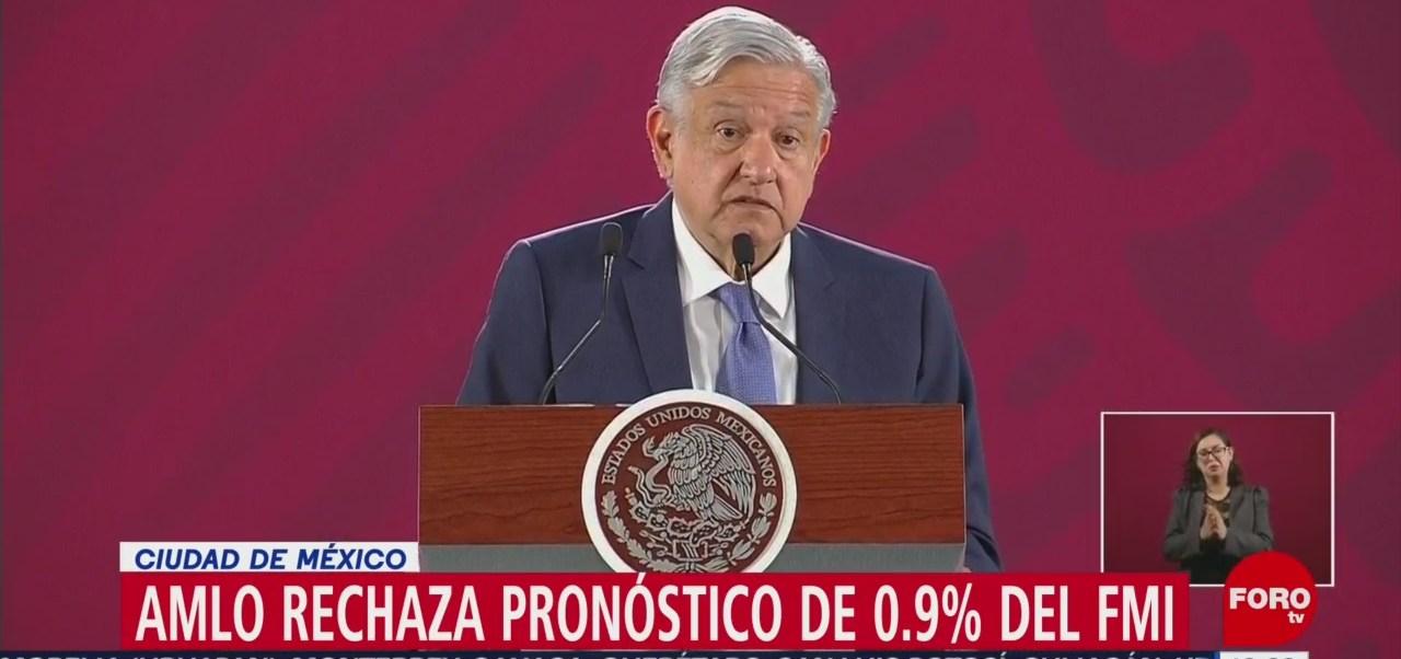 AMLO rechaza reducción de FMI al pronóstico de crecimiento de México
