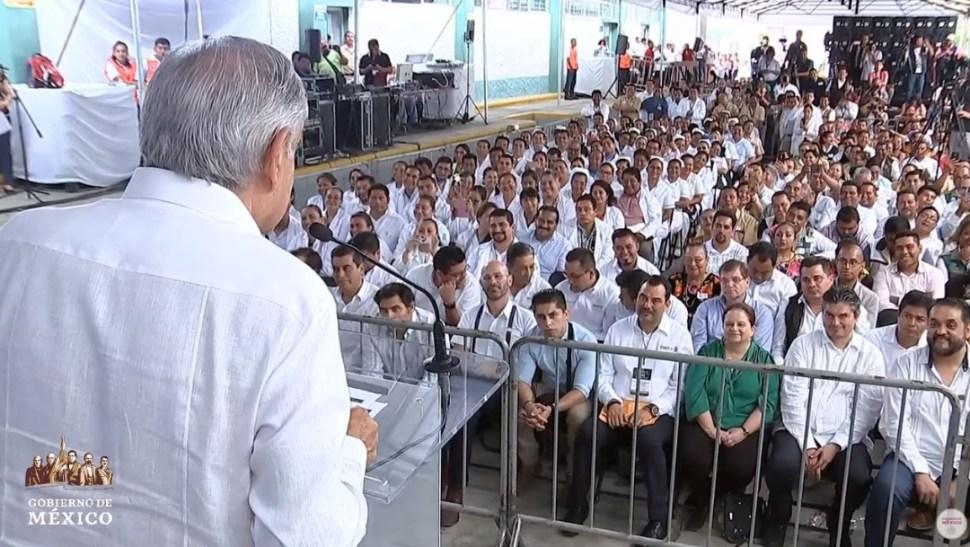 Foto: Sobre la obra de Dos Bocas, en Paraíso, AMLO comentó que se entregaron los contratos para que inicie su edificación en su entidad natal, el 27 de julio de 2019 (Gobierno de México YouTube)