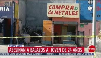 FOTO: Asesinan a balazos a joven adentro de su negocio en Nuevo León, 27 Julio 2019