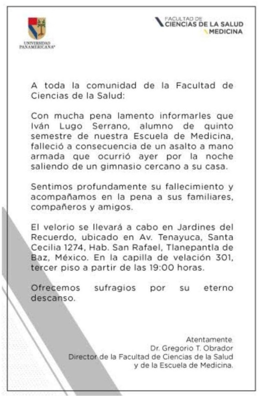 Comunicado de la Universidad Panamericana (UP)