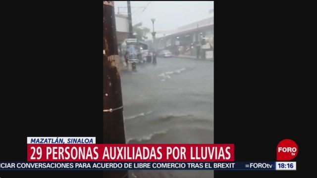 FOTO: Auxilian a 29 personas por fuertes lluvias en Mazatlán, 27 Julio 2019
