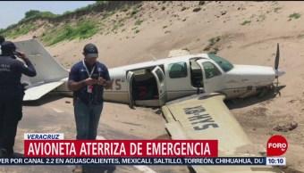 FOTO: Avioneta aterriza de emergencia en Veracruz, 6 Julio 2019