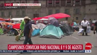 Campesinos que realizan plantón en el Zócalo de la Ciudad de México