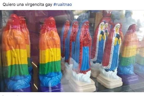 Virgen de Guadalupe en colores LGBT
