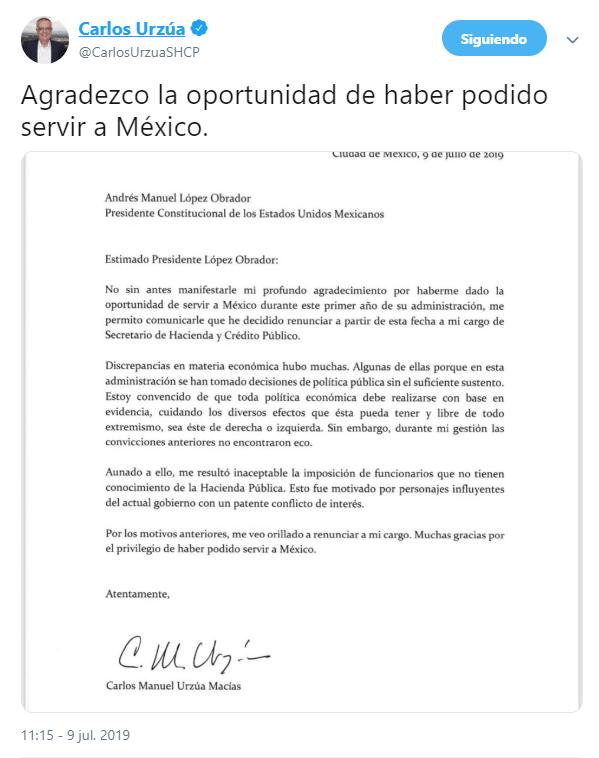 IMAGEN Renuncia Carlos Urzúa a la Secretaría de Hacienda y Crédito Público (Twitter 9 julio 2019 cdmx)